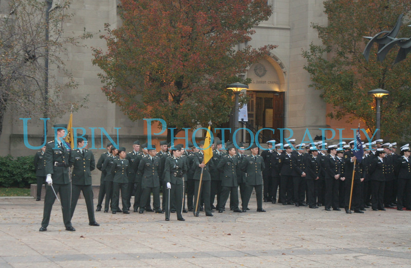 Army & Navy ROTC cadets in formation.