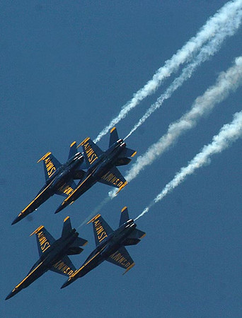 Record-Eagle/Tyler Sipe<br /> The Blue Angels soar over Grand Traverse Bay during the National Cherry Festival Air Show.