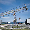 Record-Eagle/Jan-Michael Stump<br /> Joe Bears sets up the entertainment stage in the Open Space.