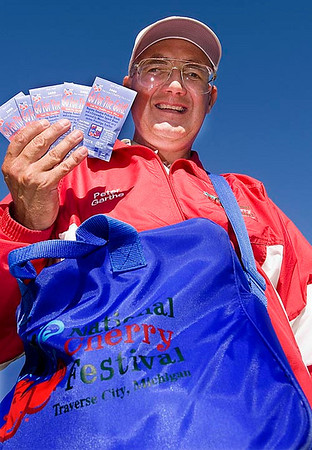 Record-Eagle/Douglas Tesner<br /> Peter Garthe is the commemorative pin selling champion 15 years running.