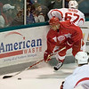 Record-Eagle/Jan-Michael Stump<br /> Red Wings defenseman Chris Chelios checks right wing Jamie Tardif training camp Saturday at Centre ICE Arena.