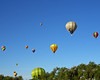 Balloons fill the sky over Roswell NM at the Old Timers Balloon Rally. A few of the 50 Balloons at the 21st annual event.