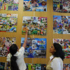 Sohini showing her artwork to Maitreyee
