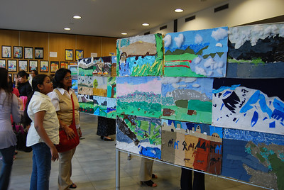 Maitreyee and Sohini examine the artworks