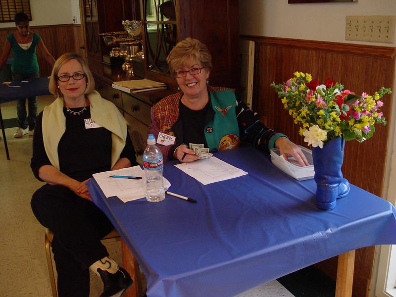 "Elizabeth Sullivan and Cheryl Basin ""meet & greet"" all the guests"