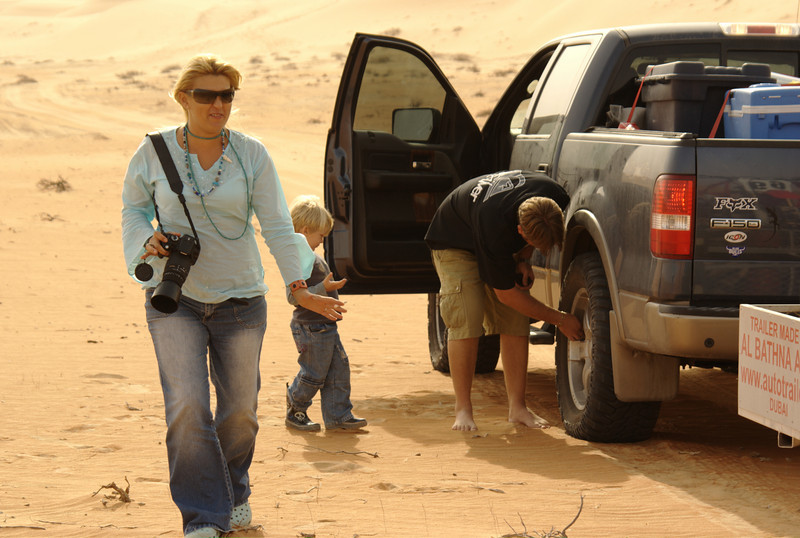 The Meyer's, arriving in the general camping area in Liwa, UAE.