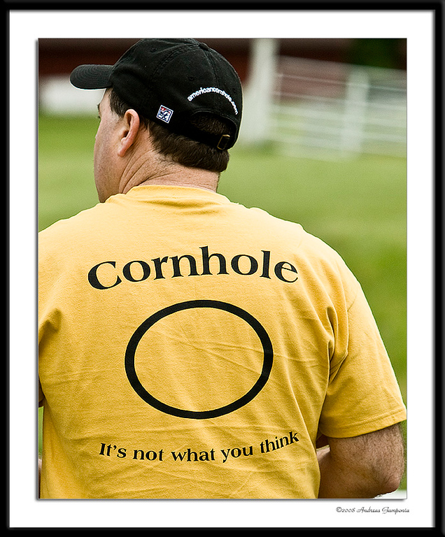 This photo is a critical necessity to dispel the obvious false conclusions right up front.  The discerning individual will also notice that the stylish baseball cap bears the emblazoned logo and text of the American Cornhole Organization or ACO!
