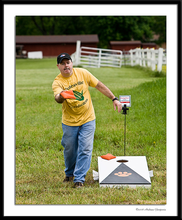 """One of the event organizers and also affectionately (at least by fellow Nokesvillers) known as the """"Cornhole King"""".  Before you let that thought wander into the dark recesses of your mind, refer back to photo number 2!"""