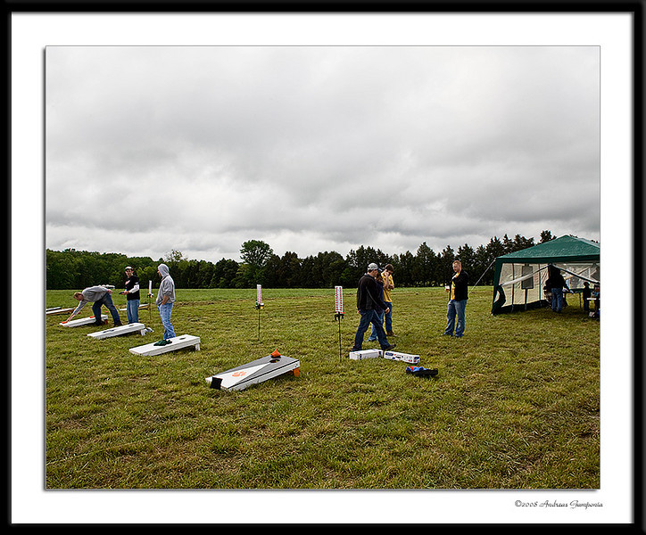 The field of dreams during the morning setup.  Surveyors transits and high level calculus was utilized to ensure that the cornhole boxes (targets?) were properly aligned and the proper distance apart per ACA regulations!