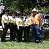 Senior Color Guard members (L to R)Judi Del Ponte, Krista Rodeen, Gloria Acosta, Anne Whitten (Captain)and Ron Scott (Livermore Parade Coordinator and Award Presenter)
