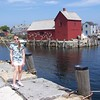 T-Warf with Motif One behind Sarah, Rockport, MA.