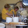 "Debbie and Darlene hard at work in the Homestead Bakery, official ""KP"" duty for these gals."
