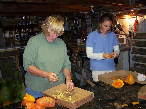 Rita and Barb busy at seed saving.