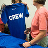 Record-Eagle/Douglas Tesner<br /> Volunteers Karen Richardson and her daughter Bethany Richardson pick out their crew T-shirts after volunteering to work at the 2008 Traverse City Film Festival.