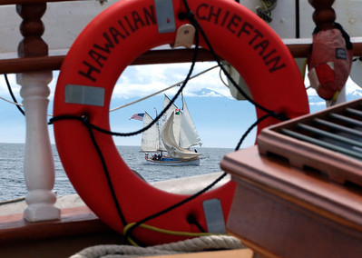 The Yankee Clipper as seen through the Chieftain's life ring.