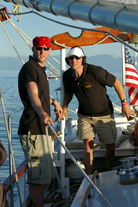 Steve and Peter Denton sailing the Amazing Grace