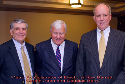 Metro Courthouse mezzanine reception on the occasion of the retirement of Davidson County Fifth Circuit Court Judge Walter Kurtz and his elevation to senior judge status---Metro Administrator of Elections Ray Barrett, Gareth Aden and Douglas Berry.