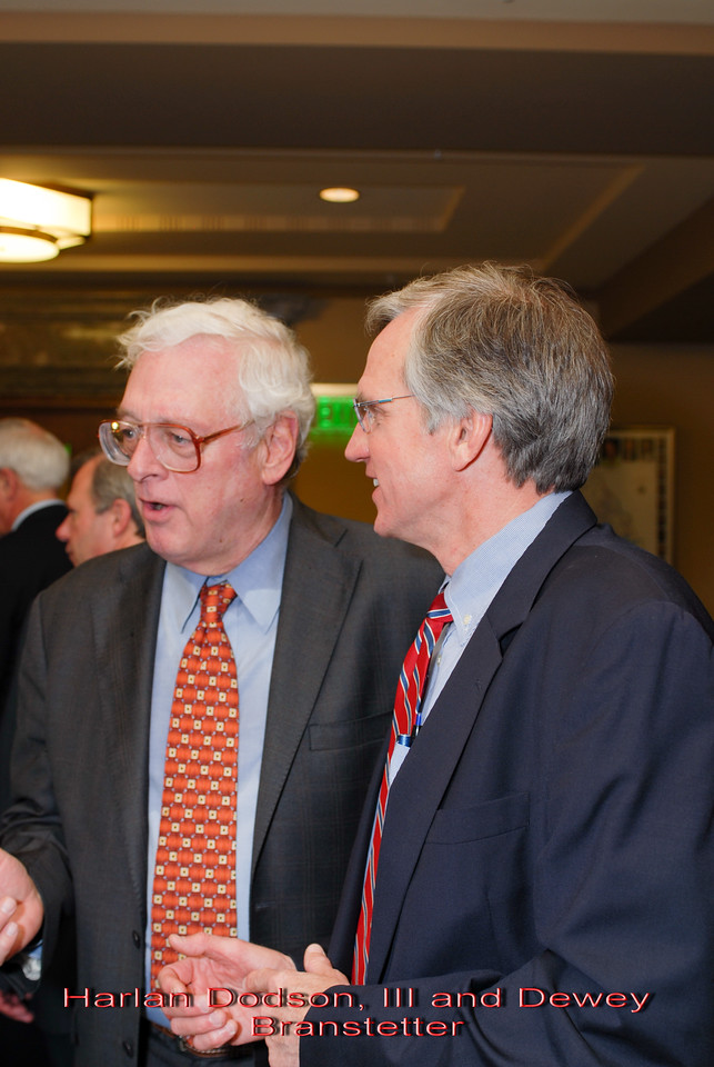 Metro Courthouse mezzanine reception on the occasion of the retirement of Davidson County Fifth Circuit Court Judge Walter Kurtz and his elevation to senior judge status---Harlan Dodson, III and Dewey Branstetter.