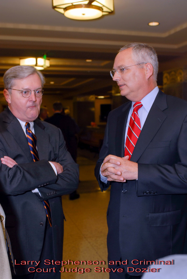 Metro Courthouse mezzanine reception on the occasion of the retirement of Davidson County Fifth Circuit Court Judge Walter Kurtz and his elevation to senior judge status---Larry Stephenson and Criminal Court Judge Steve Dozier.