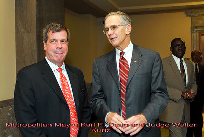 Metro Courthouse mezzanine reception on the occasion of the retirement of Davidson County Fifth Circuit Court Judge Walter Kurtz and his elevation to senior judge status---Metropolitan Mayor Karl F. Dean and Judge Walter Kurtz.