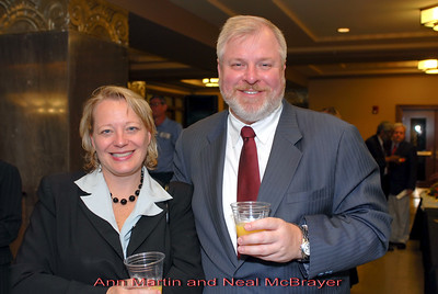 Metro Courthouse mezzanine reception on the occasion of the retirement of Davidson County Fifth Circuit Court Judge Walter Kurtz and his elevation to senior judge status---Ann Martin and Neal McBrayer.