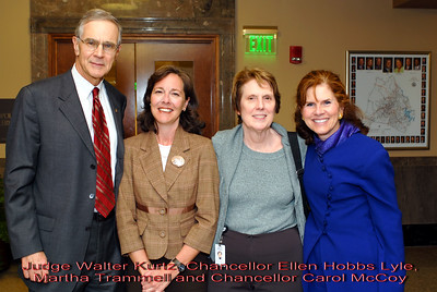 Metro Courthouse mezzanine reception on the occasion of the retirement of Davidson County Fifth Circuit Court Judge Walter Kurtz and his elevation to senior judge status---Judge Walter Kurtz, Chancellor Ellen Hobbs Lyle, Martha Trammell and Chancellor Carol McCoy.