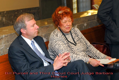 Metro Courthouse mezzanine reception on the occasion of the retirement of Davidson County Fifth Circuit Court Judge Walter Kurtz and his elevation to senior judge status---Bill Purcell and Third Circuit Court Judge Barbara Haynes.