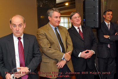 Metro Courthouse mezzanine reception on the occasion of the retirement of Davidson County Fifth Circuit Court Judge Walter Kurtz and his elevation to senior judge status---Ronald Harris, Steve Riley, Justice Bill Koch and Joe Rusnak.