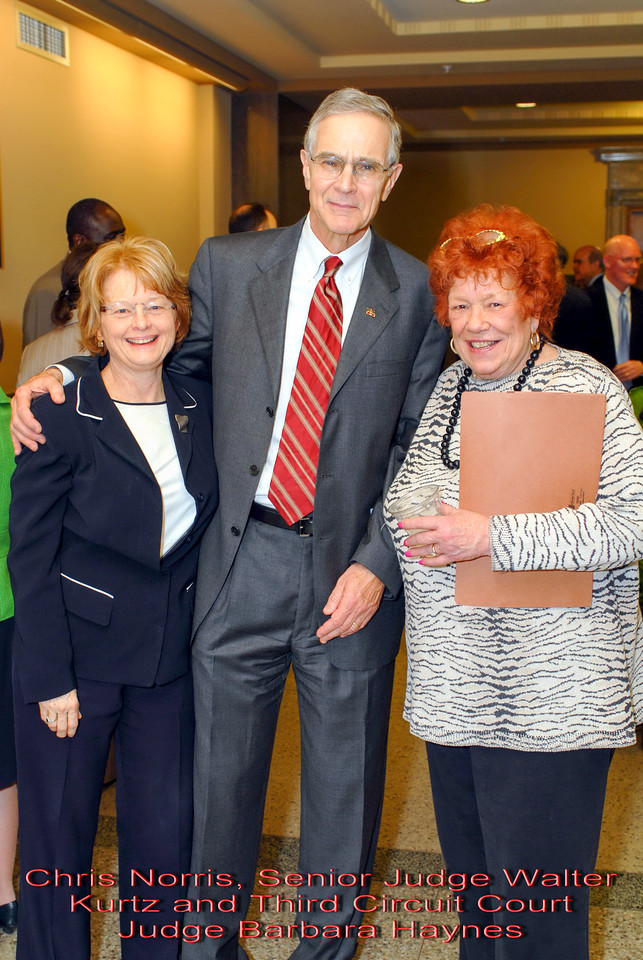 Metro Courthouse mezzanine reception on the occasion of the retirement of Davidson County Fifth Circuit Court Judge Walter Kurtz and his elevation to senior judge status---Chris Norris, Senior Judge Walter Kurtz and Third Circuit Court Judge Barbara Haynes.