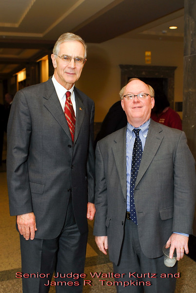 Metro Courthouse mezzanine reception on the occasion of the retirement of Davidson County Fifth Circuit Court Judge Walter Kurtz and his elevation to senior judge status---Senior Judge Walter Kurtz and James R. Tompkins.