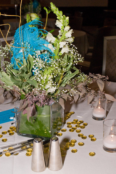 The tables were so beautifully decorated with flowers, candles and decorative glass.
