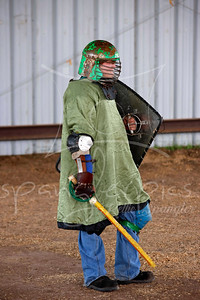 Albert armored up for the first fight demo. This was Albert's first time fighting in public.