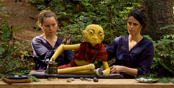 Monk in the Woods puppet performace by TWIG theatre. Puppeteers, Heidi Pendergast & Heather Gosnell.