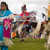 Record-Eagle/Jan-Michael Stump<br /> Jabaadiis Bedoskey dances at the Open Space during Tuesday's Native American Pow-Wow Dance, presented by the Grand Traverse Band of Ottawa and Chippewa Indians. The event was part of Heritage Day at the National Cherry Festival.