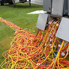Record-Eagle/Douglas Tesner<br /> Miles of electrical cable will be used during the National Cherry Festival to supply power and lights.