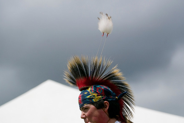 Record-Eagle/Jan-Michael Stump<br /> Jabaadiis Bedoskey dances at the Open Space during Tuesday's Native American Pow Wow Dance, presented by the Grand Traverse Band of Ottawa and Chippewa Indians. The event was part of Heritage Day at the National Cherry Festival.