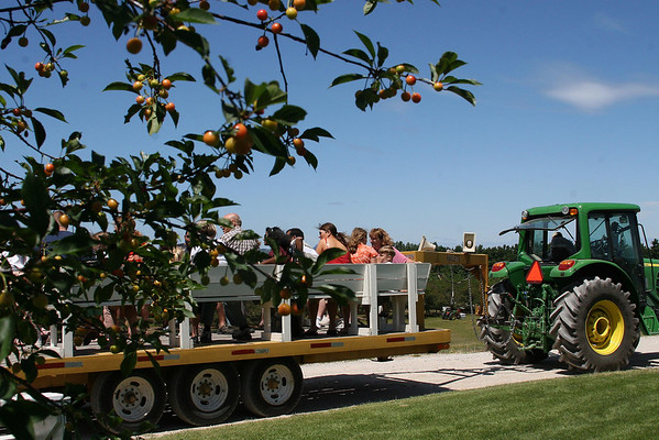 Record-Eagle/Laura Wright<br /> A group of visitors prepares to begin a tour of an operating cherry orchard.
