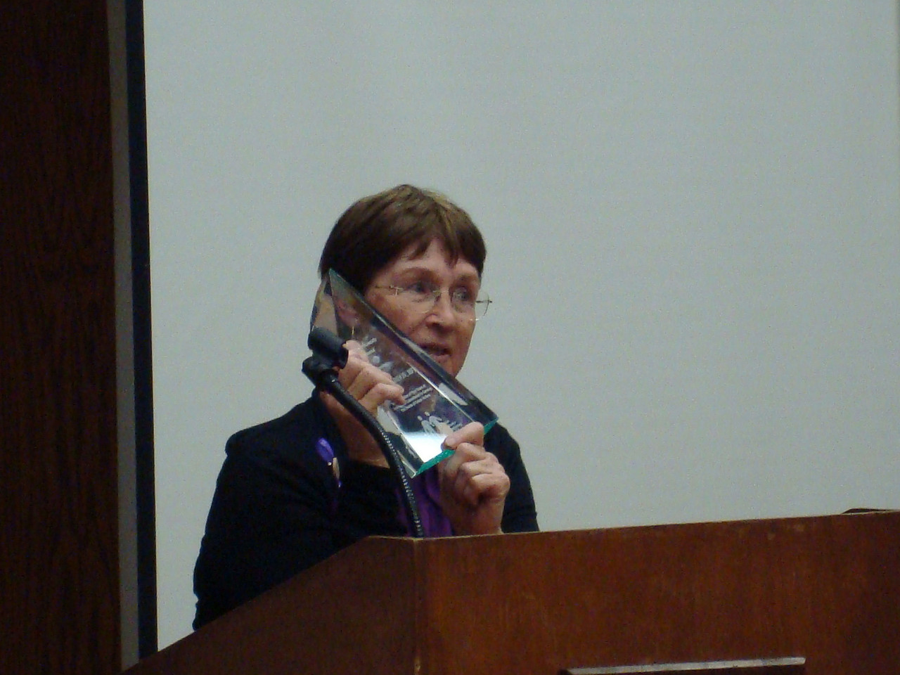 Connie Saindon accepting Crime Victim Advocate of the Year award, for all who helped keep this program going. 2009