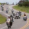 Record-Eagle/Douglas Tesner<br /> Riders head back toward Traverse City after going to the end of Old Mission Peninsula during the Father Fred ride.