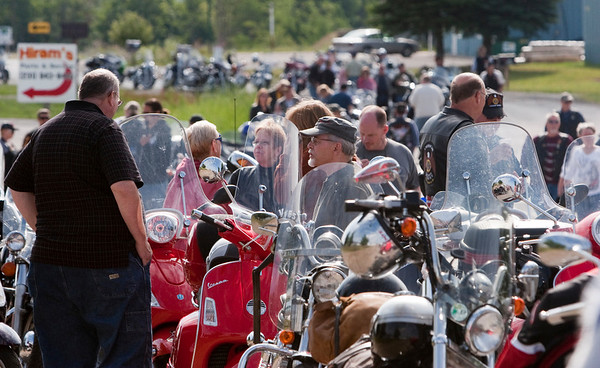 Record-Eagle/Douglas Tesner<br /> Bikers wait at the start of the benefit ride.