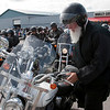 Record-Eagle/Douglas Tesner<br /> Rev. Lakovos Olechnowicz starts his bike.
