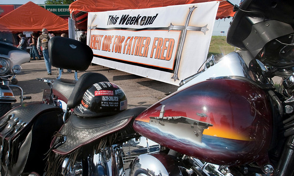 Record-Eagle/Douglas Tesner<br /> A highly customized bike waits for the start of the 18th Annual HOG ride benefiting the Father Fred Foundation.