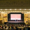 "Record-Eagle photo/Jan-Michael Stump<br /> Michael Moore introduces director Paul Mazursky at the City Opera House before the start of Wednesday evening's screening of ""Enemies, A Love Story."""