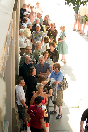 "Record-Eagle photo/Jan-Michael Stump<br /> Ticket holders line up outside the City Opera House for Tuesday evening's showing of  ""Troubled Water."" The Traverse City Film Festival kicked off its fifth year with opening ceremonies outside the State Theatre on a blocked off Front Street. Traverse City filmmaker Rich Brauer was presented the Michigan Filmmaker Award."