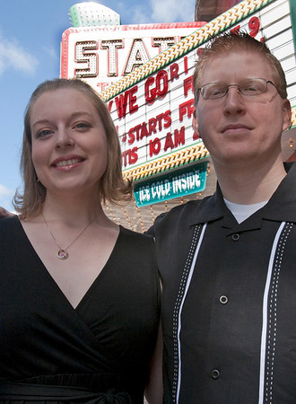 Record-Eagle/Douglas Tesner<br /> Erynn Rademacher and her fiancée Adam Ziegler stand outside the State Theatre marquee. The two met at the 2007 film fest, were engaged at the 2008 fest, and are going to be married on July 25 at the State Theatre.