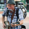 "Record-Eagle photo/Jan-Michael Stump<br /> ""Mr. JoJangles"" performs on West Front Street on Wednesday afternoon during the Traverse City Film Festival."
