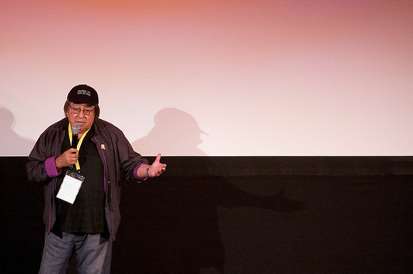"""Record-Eagle photo/Jan-Michael Stump<br /> Director Paul Mazursky speaks to the audience at the City Opera House before the start of Wednesday evening's screening of """"Enemies, A Love Story."""""""