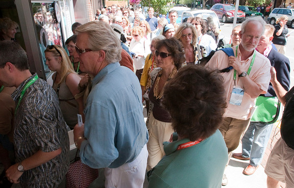 "Record-Eagle/Douglas Tesner<br /> Movies fans rush into ""Mike's Surprise"" at the State Theatre."