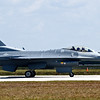 The F-16 on the runway