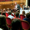 Record-Eagle/Douglas Tesner<br /> Traverse City Record-Eagle Publisher Mike Casuscelli gives instructions to roughly 30 students taking part in the 28th Annual Grand Traverse Regional Spelling Bee at the City Opera House in Traverse City.